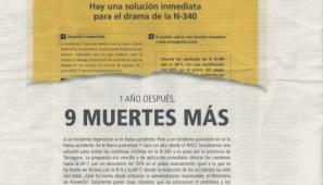 Anuncio en el que el RACC pide el desvío obligatorio de los camiones a las autopistas de peaje por ser los responsables de la siniestralidad en las carreteras españolas.