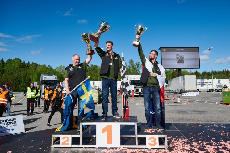 El podio de la Scania Driver Competition 2019.