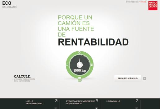 Renault Trucks, huella medioambiental, emisiones contaminantes, ecocalculator, aplicaciones Smartphone camiones
