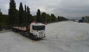 nuevo aparcamiento para camiones en la AP-7, Pla Santiga, Barcelona