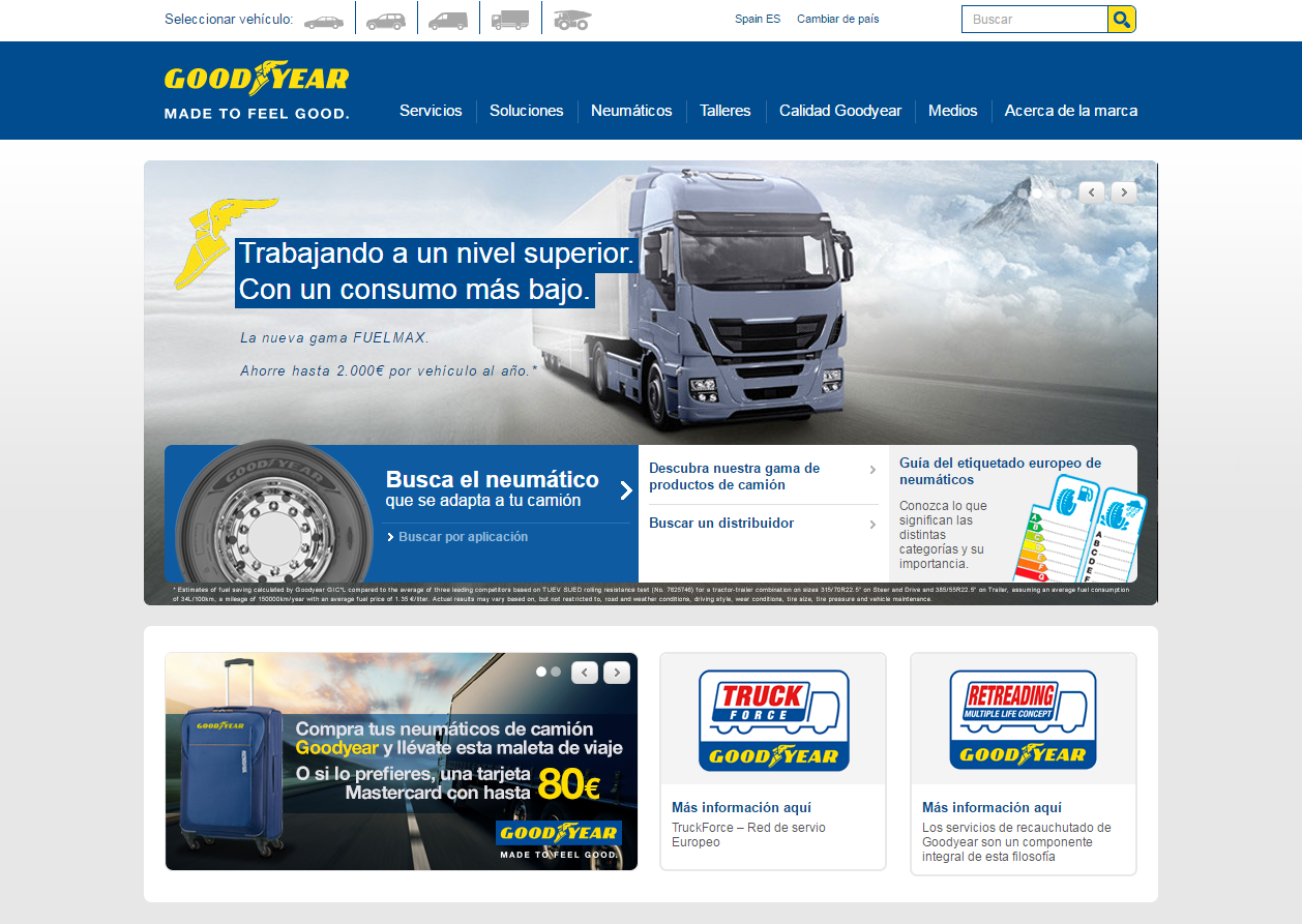 Goodyear lanza una nueva web especializada en el mundo del camión.
