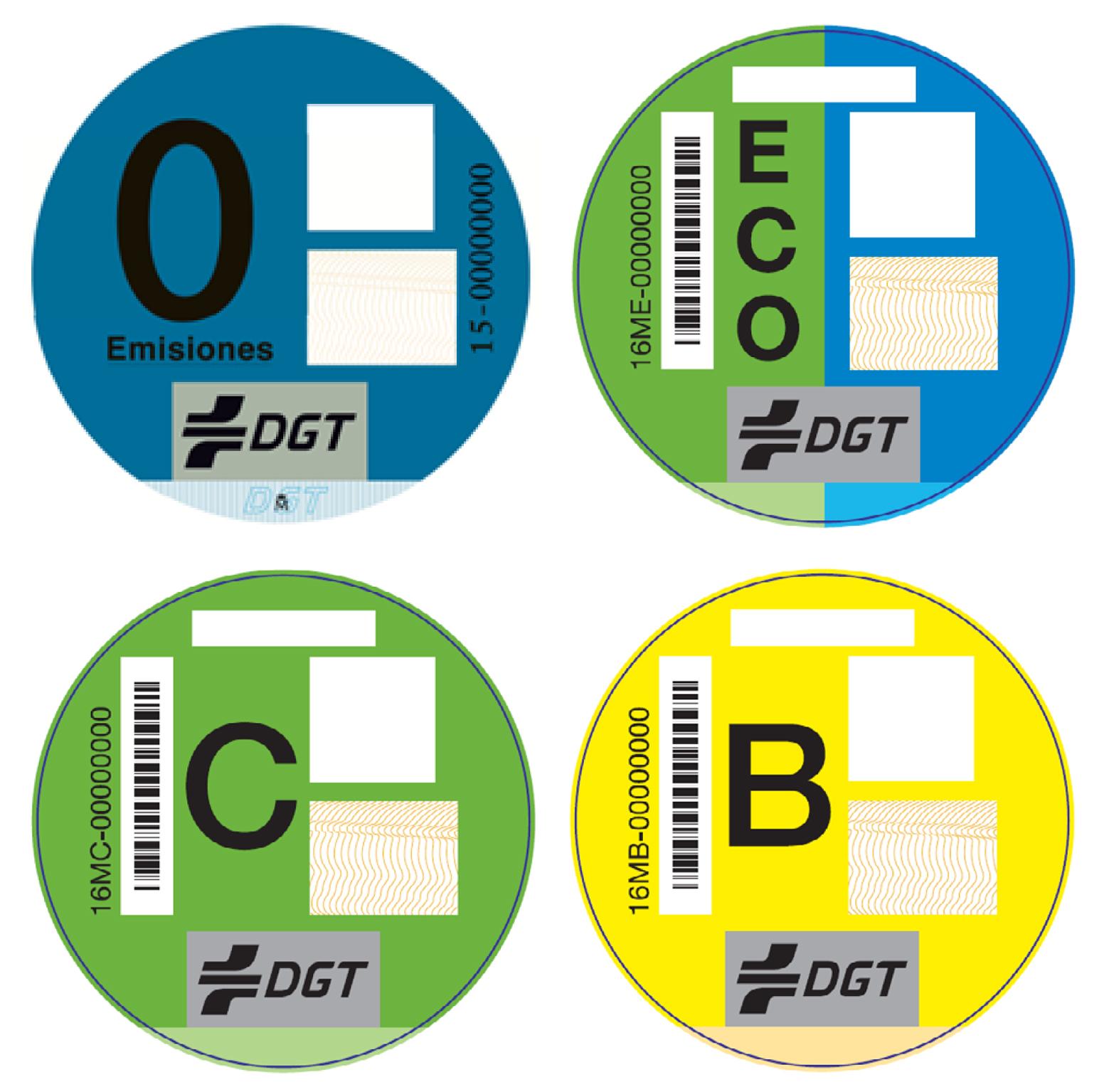La DGT clasifica el parque de vehículos en cuatro grupos en función de sus emisiones contaminantes