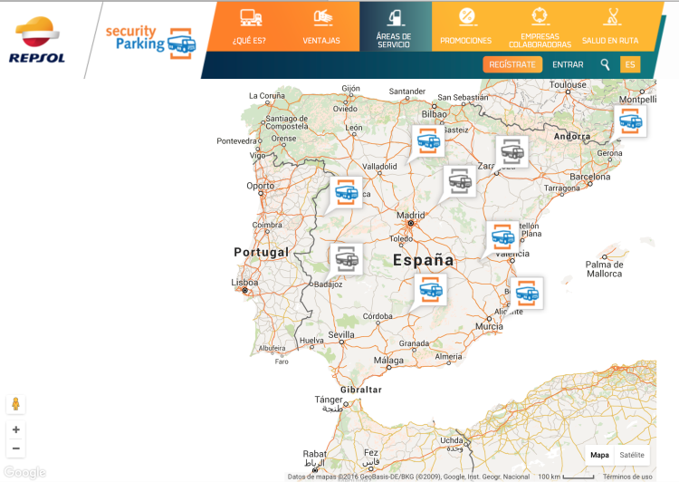 Mapa aparcamientos seguros Repsol Security Parking
