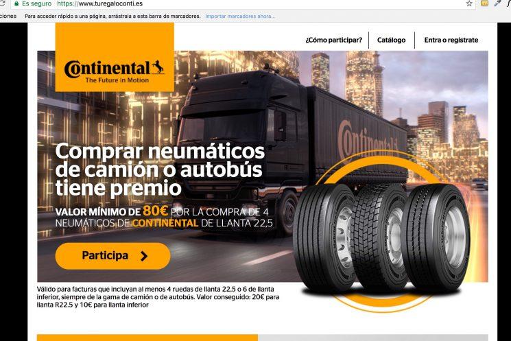 Continental lanza una promoción en la que regala una Tarjeta Visa a cambio de la compra de neumáticos de camión o autobús.