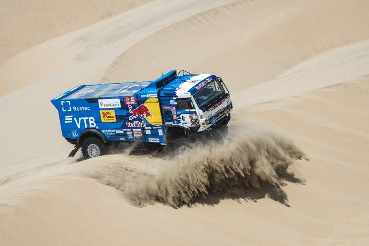 El camión del ruso Nikolaev durante la última etapa que ha confirmado su victoria.