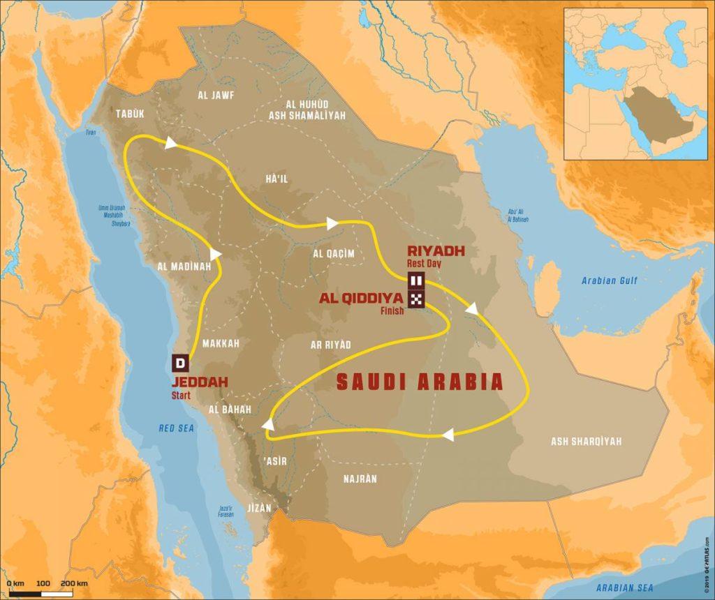 Recorrido del Dakar 2020 en Arabia Saudí.