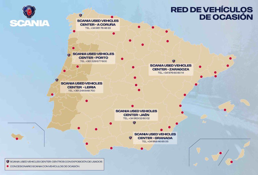 Mapa de la red de Scania de centros de vehículos de ocasión.