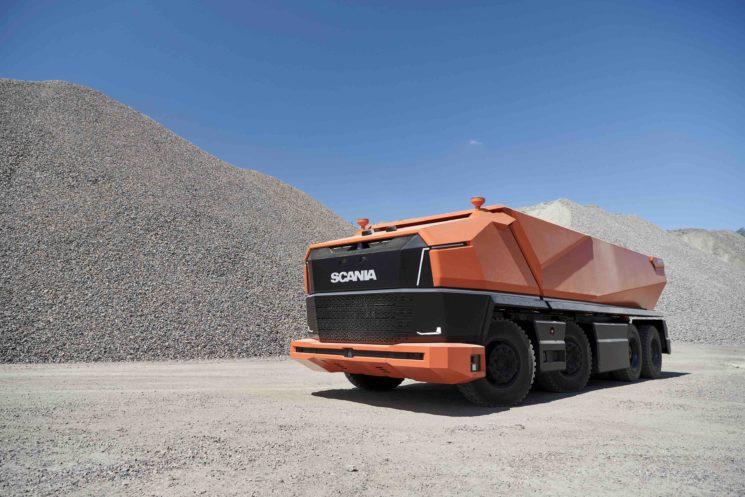 Scania AXL, un camión autónomo sin cabina para trabajo en minas y grandes obras de construcción.