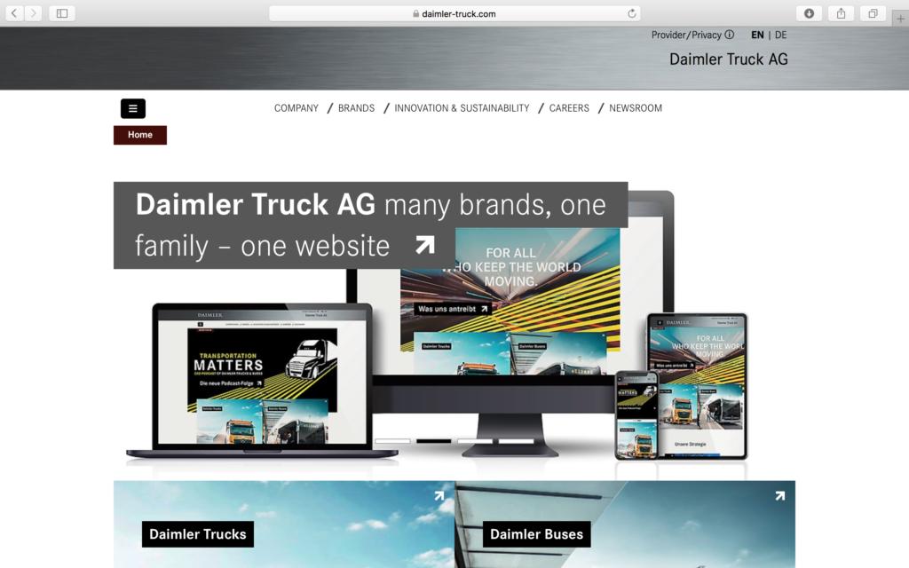 Daimler anuncia la creación de Daimler Trucks para dar cabida a sus marcas de camiones y buses y a su nueva web propia.