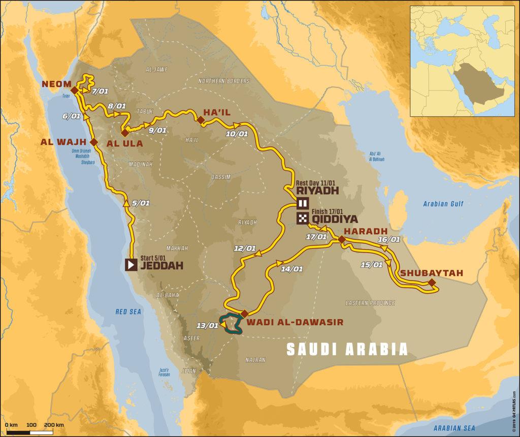 En azul, el recorrido de la etapa 8 del Dakar 2020.