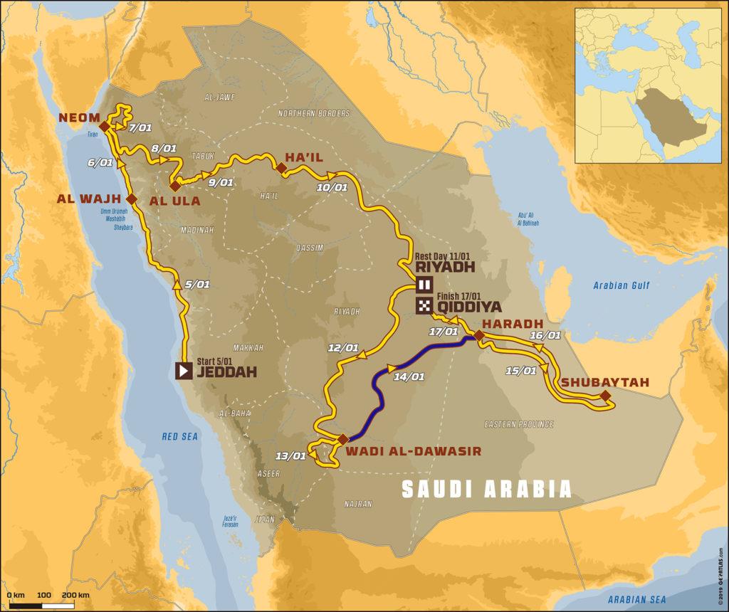 Mapa del Dakar 2020 donde se ve resaltado en azul la etapa 09 que se disputará mañana.
