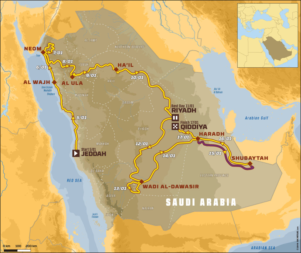Mapa completo del Dakar 2020 donde se aprecia la etapa 10ª que se disputará mañana.