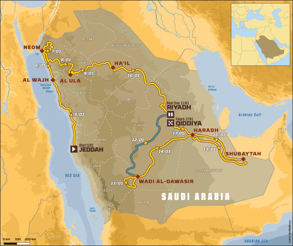 En el mapa del Dakar 2020 podemos ver resaltado en azul el tramo correspondiente a la etapa 7, que se correrá el domingo, tras un día de descanso.