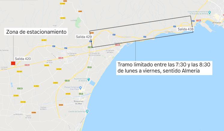 """La Jefatura Provincial de Tráfico de Almería corta la circulación de camiones """"temporalmente"""" en la A7 de 7:30 a 8:30 de lunes a viernes sin dar más explicaciones."""