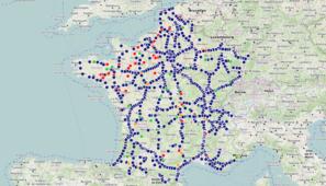 Mapa interactivo de Francia con las áreas de descanso, establecimientos etc. para comer, ducharse o asearse por parte de los transportistas.