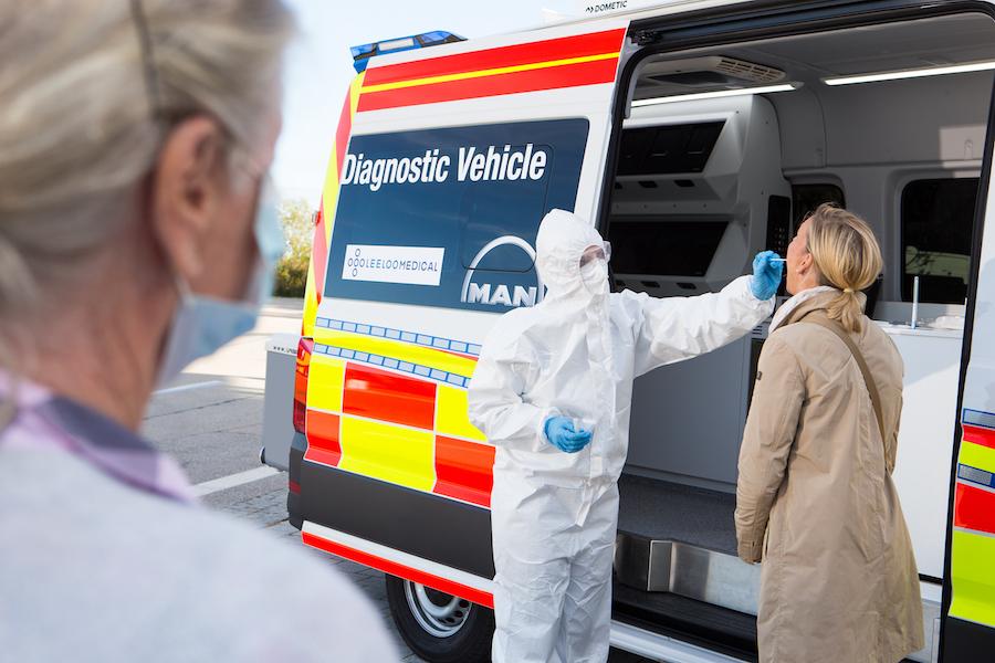 Man TGE vehículo diagnóstico Covid19.