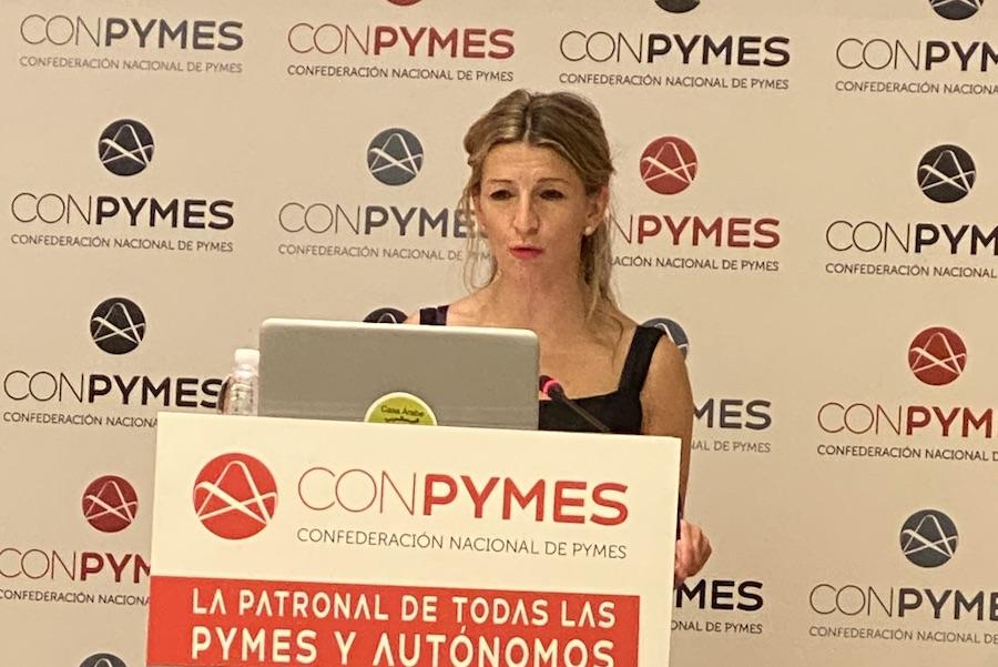 Yolanda Díaz, ministra de trabajo, en la presentación de CONPYMES.