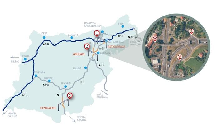 Mapa con los peajes para camiones en Guipuzcoa en la N1 y A15 anulados por los tribunales
