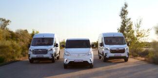Gama Maxus disponible en España que incluye dos furgones eléctricos y un diésel.